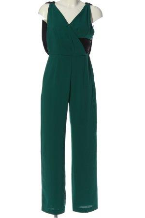 Zara Basic Jumpsuit grün-schwarz Business-Look