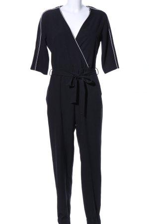 Zara Basic Jumpsuit schwarz-weiß Casual-Look