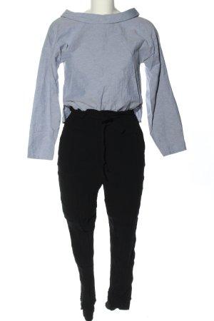 Zara Basic Jumpsuit hellgrau-schwarz meliert Casual-Look