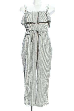 Zara Basic Jumpsuit weiß-hellgrau Streifenmuster Casual-Look