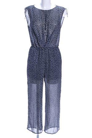 Zara Basic Jumpsuit blau-weiß Allover-Druck Casual-Look