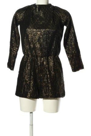 Zara Basic Jumpsuit schwarz-goldfarben Elegant