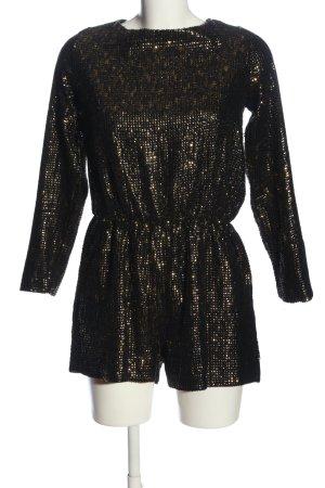 Zara Basic Jumpsuit schwarz-bronzefarben Glanz-Optik