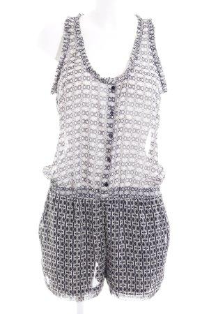 Zara Basic Jumpsuit schwarz-wollweiß abstraktes Muster Beach-Look