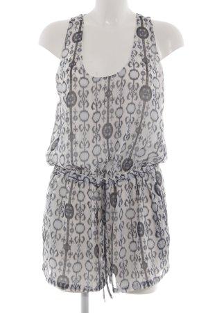 Zara Basic Jumpsuit weiß-hellgrau Casual-Look