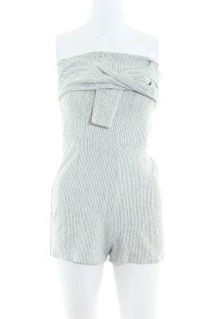 Zara Basic Jumpsuit weiß-schwarz Streifenmuster