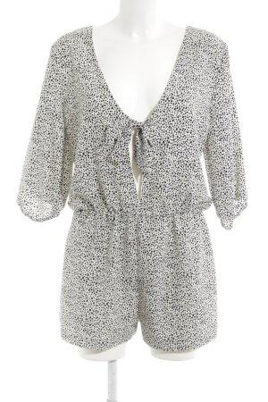 Zara Basic Jumpsuit wollweiß-schwarz Punktemuster Beach-Look