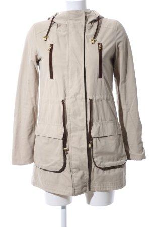 Zara Basic Kapuzenjacke wollweiß-braun Casual-Look