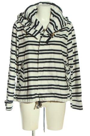 Zara Basic Kurtka z kapturem biały-czarny Na całej powierzchni W stylu casual