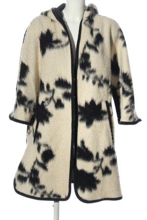 Zara Basic Kurtka z kapturem w kolorze białej wełny-czarny Abstrakcyjny wzór