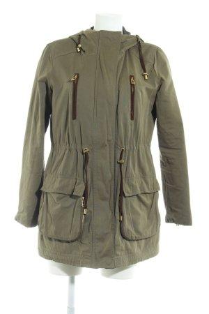 Zara Basic Kapuzenjacke khaki Casual-Look