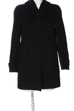 Zara Basic Abrigo con capucha negro estilo «business»