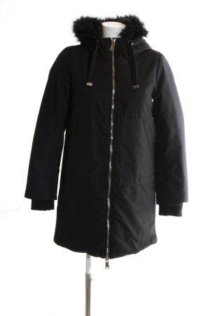Zara Basic Abrigo con capucha negro look casual