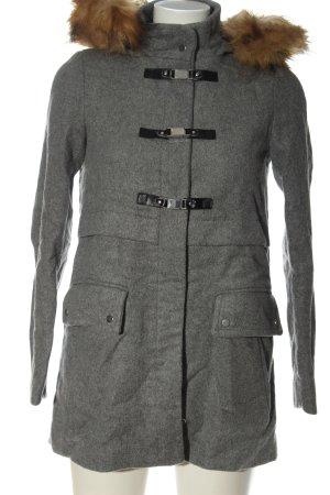 Zara Basic Abrigo con capucha gris claro-marrón moteado look casual