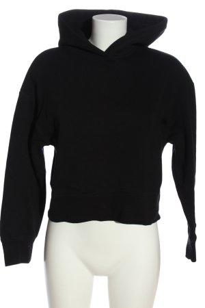 Zara Basic Kapuzensweatshirt schwarz Casual-Look