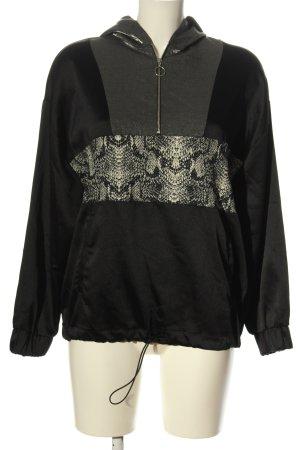 Zara Basic Sweatshirt met capuchon zwart-lichtgrijs dierenprint