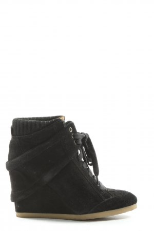 Zara Basic Keil-Stiefeletten schwarz Casual-Look