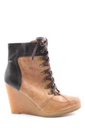 Zara Basic Keil-Stiefeletten braun-schwarz Casual-Look