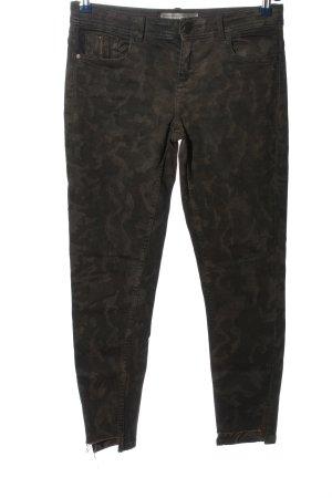 Zara Basic Spodnie khaki khaki Wzór moro W stylu casual