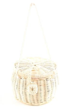 Zara Basic Bolso tipo cesta blanco puro estampado a cuadros look casual