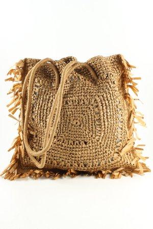 Zara Basic Borsetta a cestino marrone punto treccia stile casual