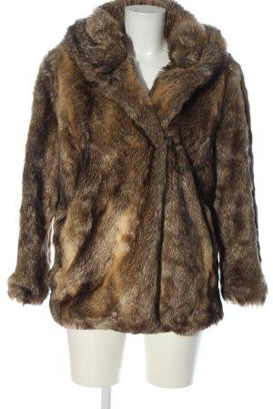 Zara Basic Kunstfelljacke braun-wollweiß Casual-Look