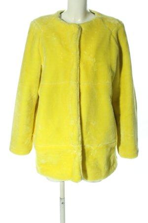 Zara Basic Manteau en fausse fourrure jaune primevère style décontracté