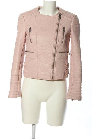 Zara Basic Kunstlederjacke pink Steppmuster Casual-Look