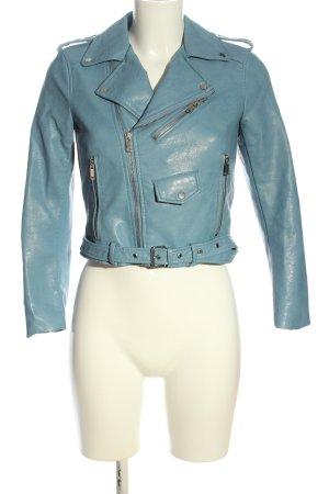 Zara Basic Kunstlederjacke blau Casual-Look