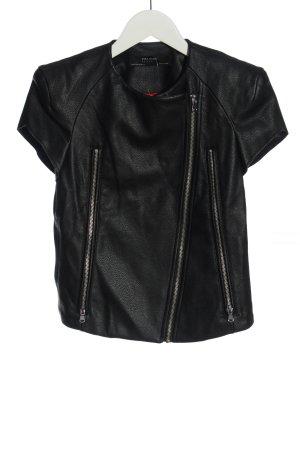 Zara Basic Kurtka z imitacji skóry czarny W stylu casual