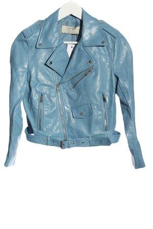 Zara Basic Kurtka z imitacji skóry niebieski W stylu casual