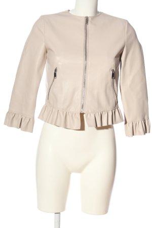 Zara Basic Kunstlederjacke creme Casual-Look
