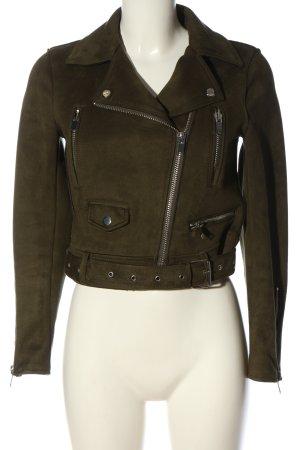Zara Basic Veste en cuir synthétique kaki style décontracté