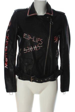 Zara Basic Kunstlederjacke schwarz Schriftzug gedruckt Casual-Look