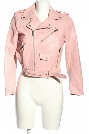 Zara Basic Kurtka z imitacji skóry różowy W stylu casual