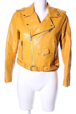 Zara Basic Chaqueta de cuero de imitación naranja claro look casual