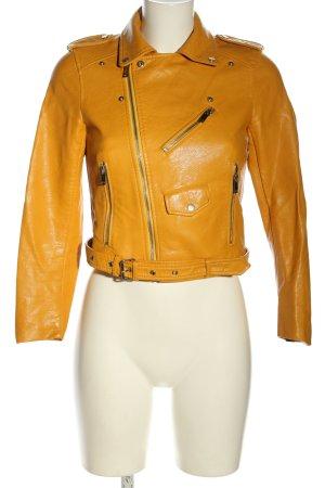 Zara Basic Kurtka z imitacji skóry bladożółty W stylu casual
