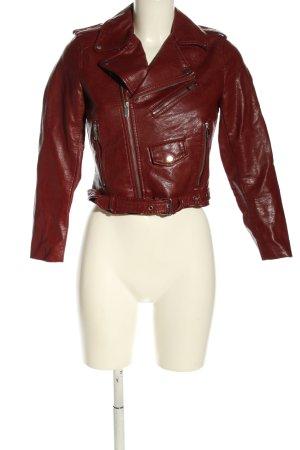 Zara Basic Kurtka z imitacji skóry czerwony W stylu casual