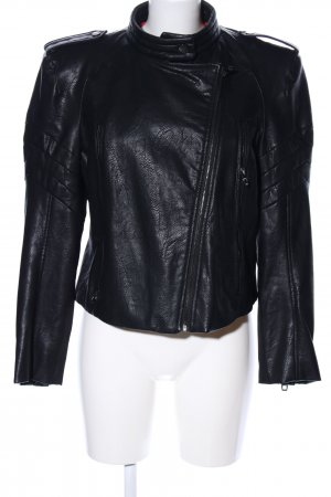 Zara Basic Chaqueta de cuero de imitación negro look efecto mojado