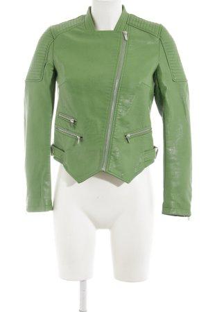 Zara Basic Kunstlederjacke grün Casual-Look