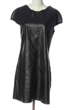 Zara Basic Kunstlederkleid schwarz Glanz-Optik