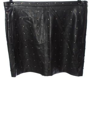Zara Basic Spódnica z imitacji skóry czarny-srebrny Na całej powierzchni