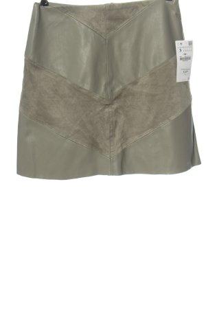 Zara Basic Spódnica z imitacji skóry khaki Imprezowy wygląd