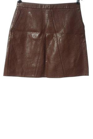 Zara Basic Spódnica z imitacji skóry brązowy Z połyskiem