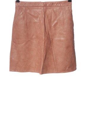 Zara Basic Spódnica z imitacji skóry brązowy W stylu casual