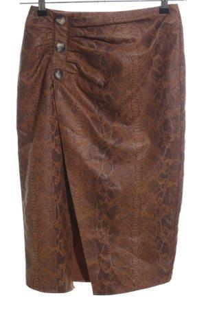 Zara Basic Gonna in ecopelle marrone motivo animale elegante