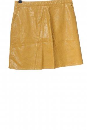 Zara Basic Faux Leather Skirt light orange wet-look