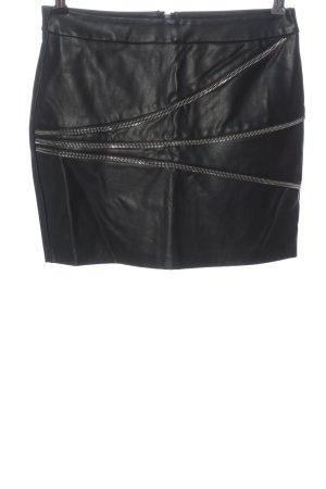 Zara Basic Spódnica z imitacji skóry czarny Elegancki