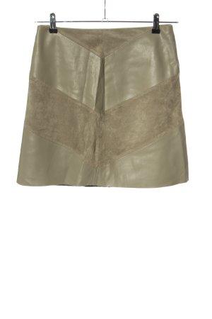 Zara Basic Spódnica z imitacji skóry khaki W stylu casual