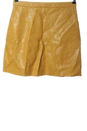 Zara Basic Spódnica z imitacji skóry jasny pomarańczowy W stylu casual